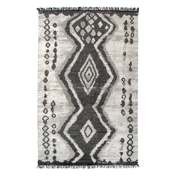 Printed Cotton and Stonewash Finish Rug