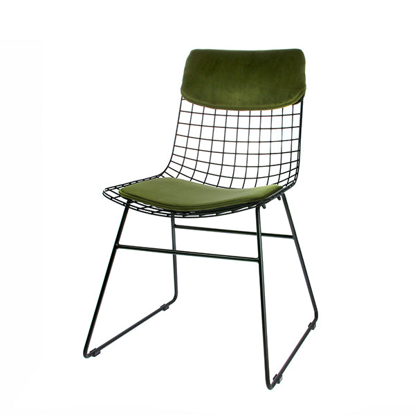Metal Wire Chair Comfort Kit in Velvet Green