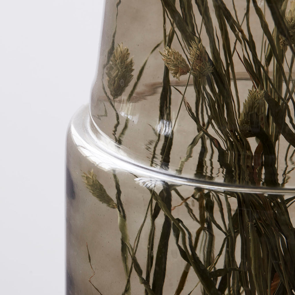 Smokey Grey Glass Vase