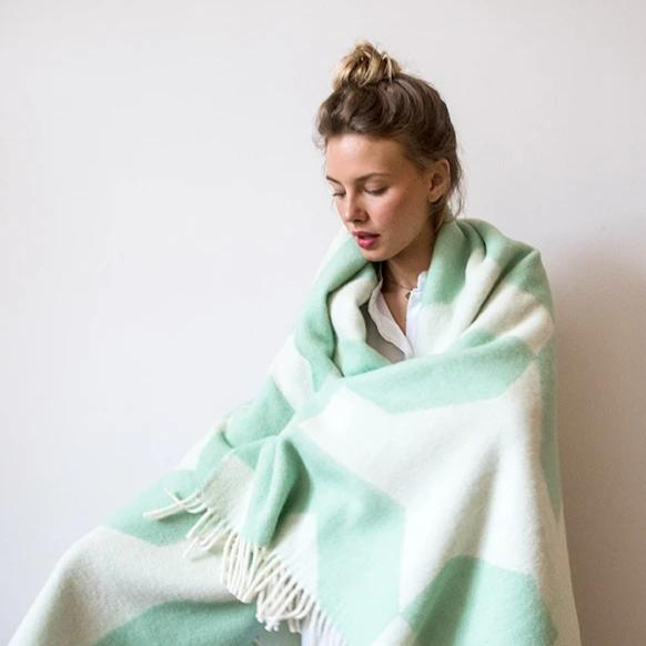100% Wool Blanket -  Happy Mint