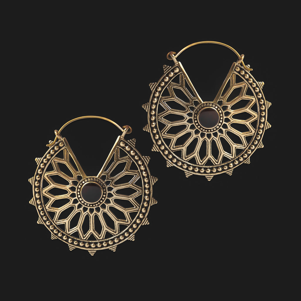 Zyra Mandala Inca Earrings with Black Shell (PAIR)