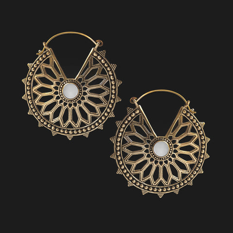 Zyra Mandala Inca Earrings with White Shell (PAIR)
