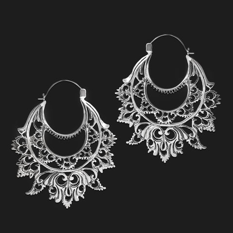 Elaria Filigree Inca Earrings in White Brass (PAIR)
