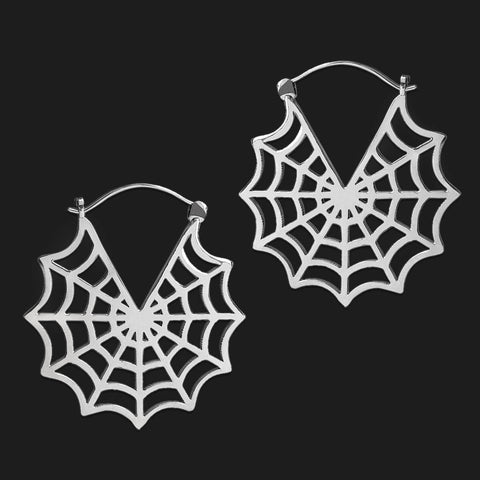 Lilith Cobweb Earrings in White Brass (PAIR)