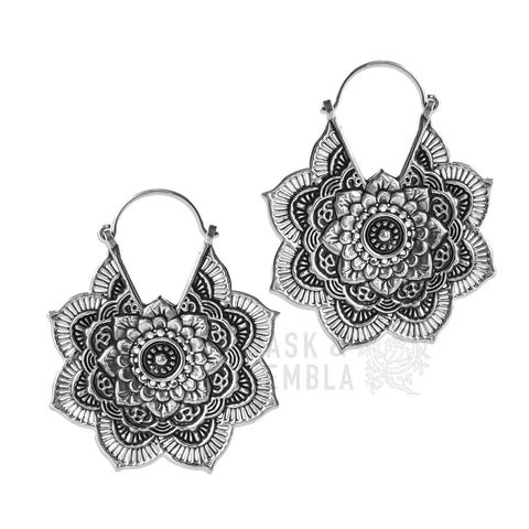 Kamala Mandala Inca Earrings in White Brass (PAIR)