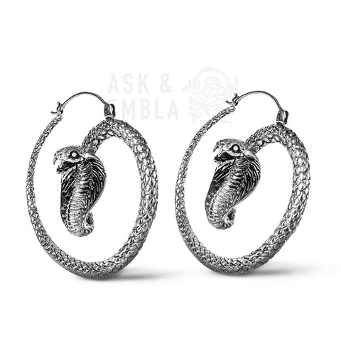 King Cobra Inca Earrings in White Brass (PAIR)