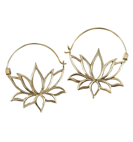 Lenka Lotus Brass Inca Earrings (PAIR)