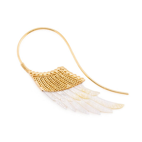 Pearl and Gold Plated Valkyrie Wing Hanger Inca Earrings (PAIR)
