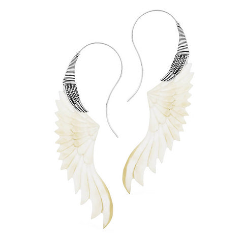 Freja Pearl Wing Silver Plated Inca Earrings (PAIR)