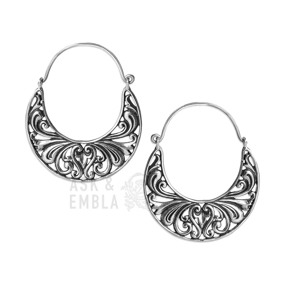 Vandra Moon Inca Earrings in White Brass (PAIR)