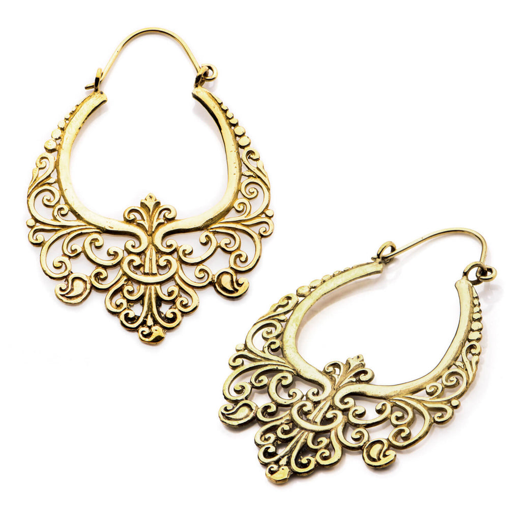 Brass Filigree Inca Earrings (PAIR) - Ask and Embla Store - 1