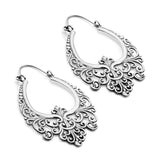 White Brass Filigree Inca Earrings (PAIR)