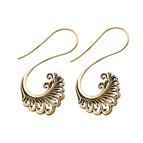 Brass Phoenix Tail Inca Earrings (PAIR) - Ask and Embla Store