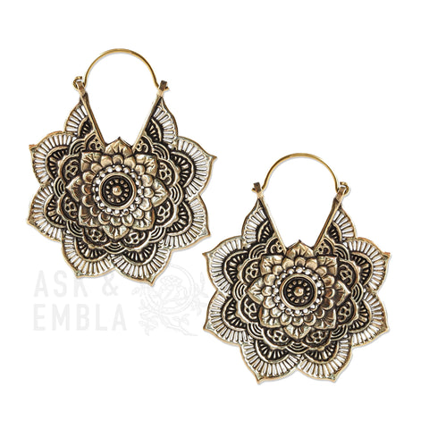 Kamala Mandala Inca Earrings in Brass (PAIR)