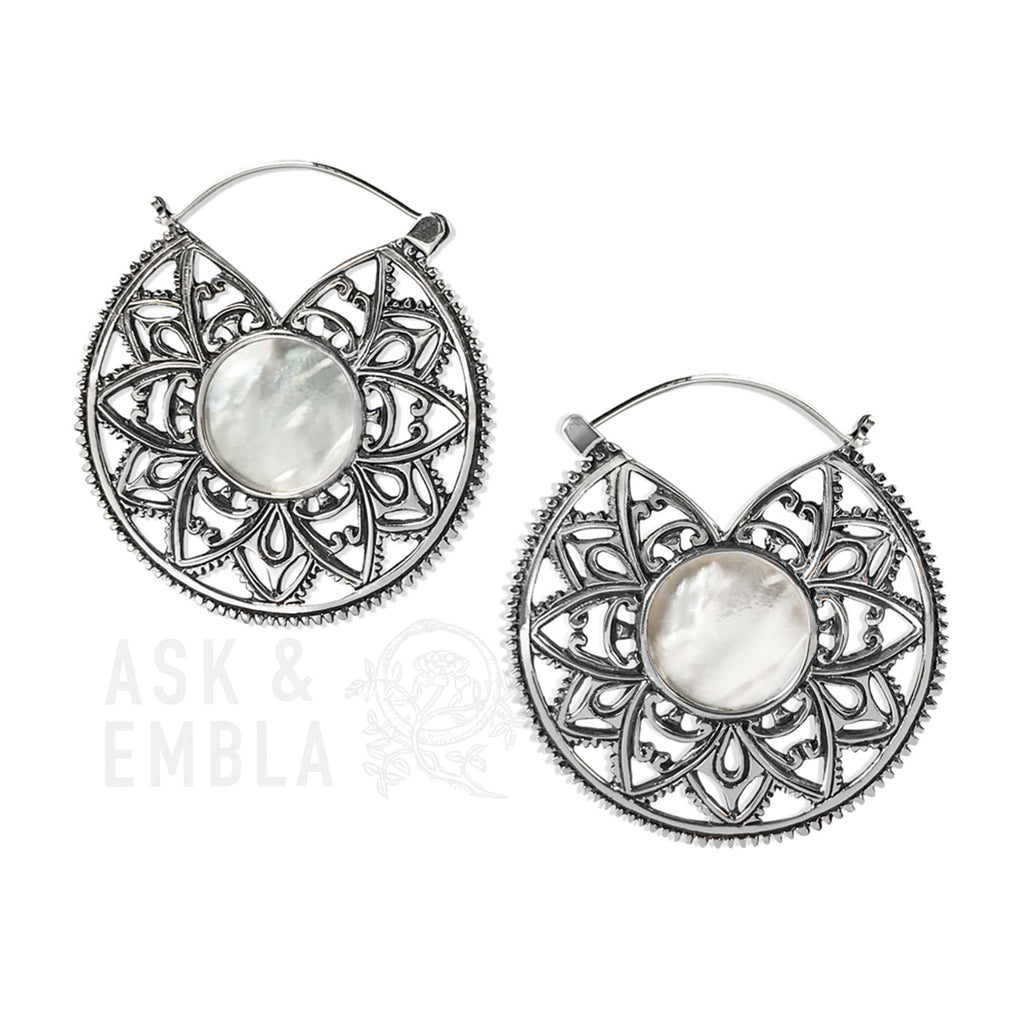 Kiva White Brass Mandala Earrings (PAIR)