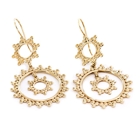 Gold Sunbeam Inca Earrings  (PAIR)