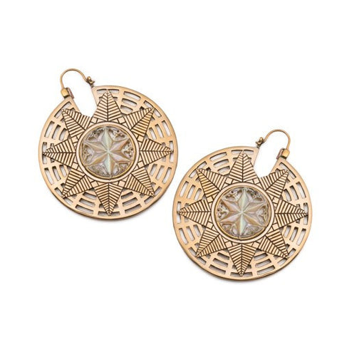 Brass Alora Snowflake Mandala Inca Earrings (PAIR)