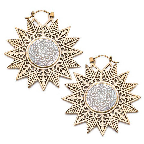 Brass Filigree Snowflake Mandala Inca Earrings (PAIR)