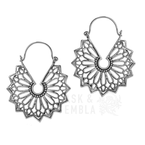 Orifan White Brass Inca Earrings (PAIR)