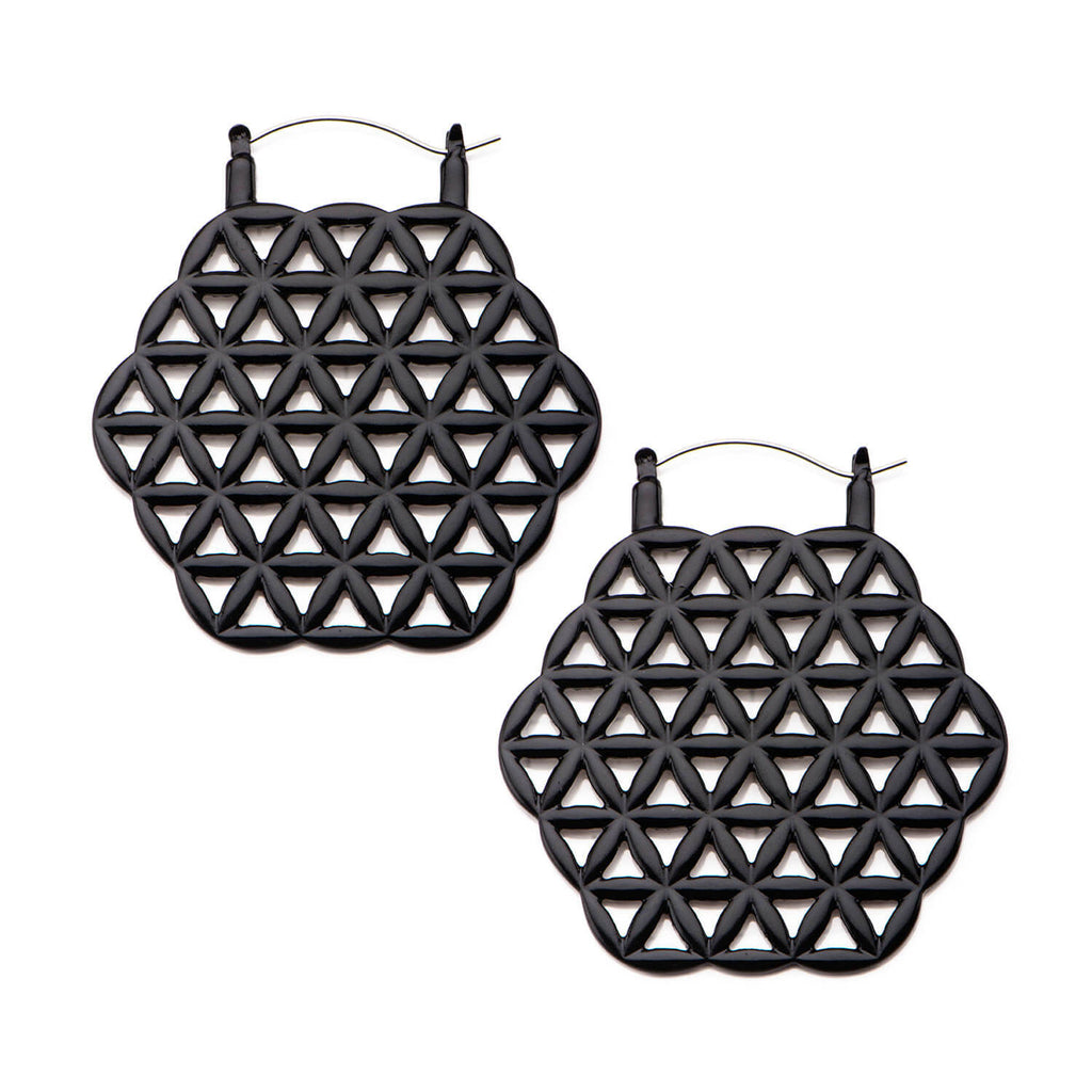 Black Flower of Life Inca Earrings (PAIR) - Ask and Embla Store