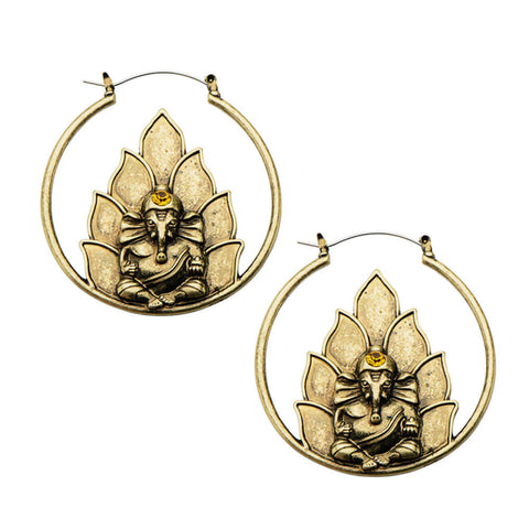 Antique Gold Ganesha Inca Earrings (PAIR) - Ask and Embla Store - 1