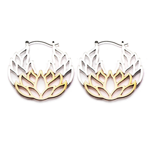 Rose Gold Lotus Inca Earrings (PAIR) - Ask and Embla Store - 1
