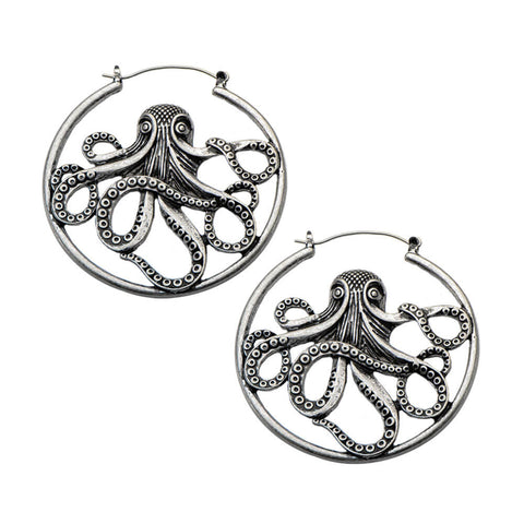 Antique Silver Octopus Inca Earrings (PAIR) - Ask and Embla Store - 1