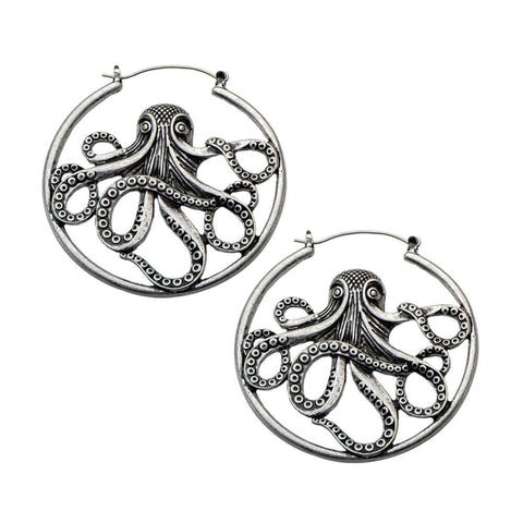 Antique Silver Octopus Inca Earrings (PAIR)
