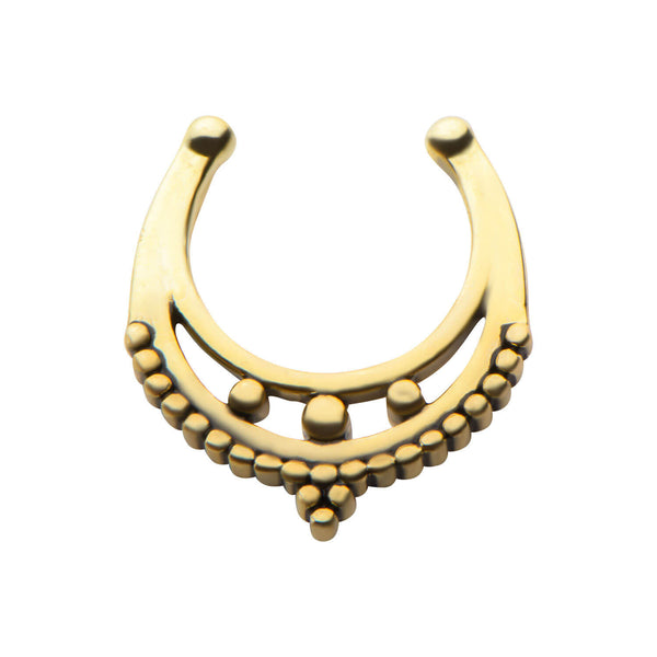 Gold Kafira Faux Septum Clip - Ask and Embla Store - 1