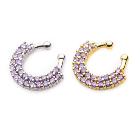 Amethyst Akasha Bejewelled Faux Septum Clip - Ask and Embla Store - 1