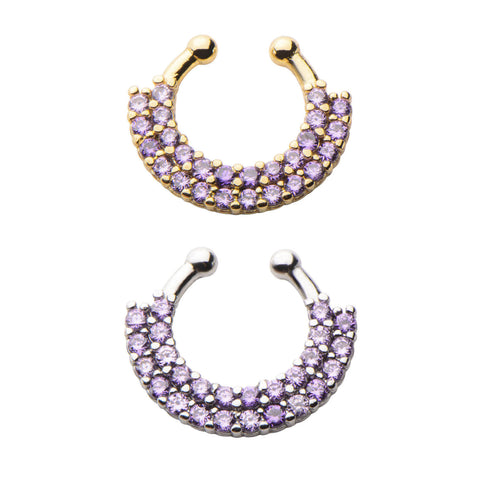 Amethyst Akasha Bejewelled Faux Septum Clip - Ask and Embla Store - 2