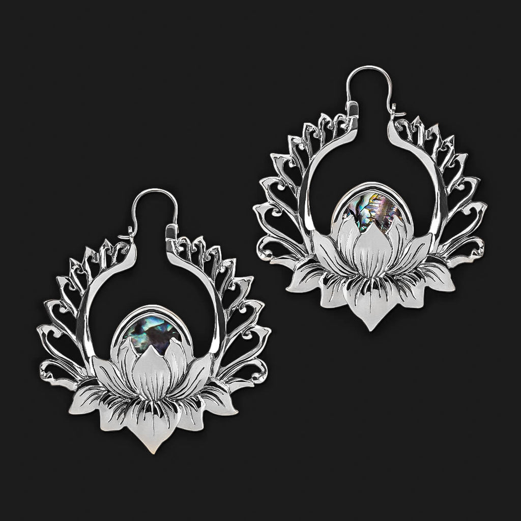 Ankara Lotus Earrings in White Brass (PAIR)