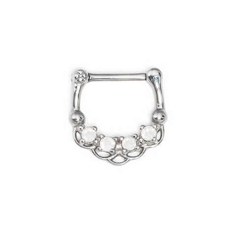 Akhtar Opalite Lotus Steel Septum Clicker