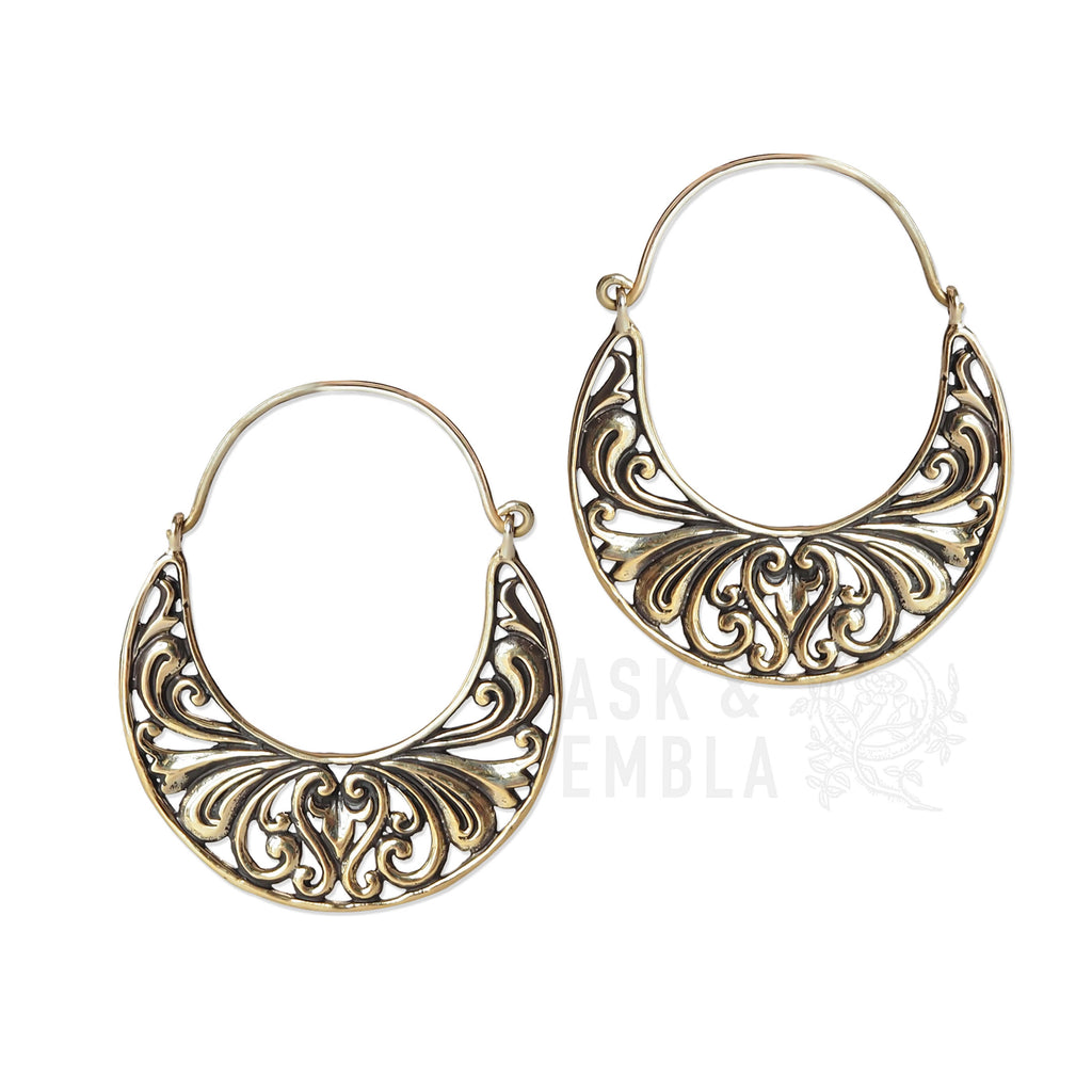 Vandra Moon Inca Earrings in Brass (PAIR)