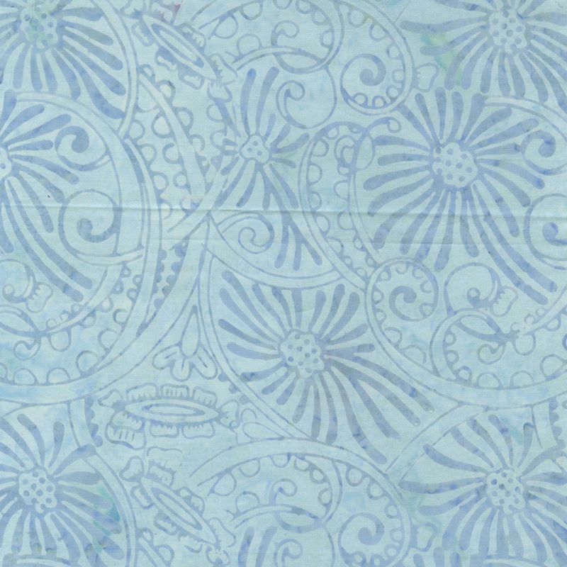 Light Blue Flower Swirl Batik