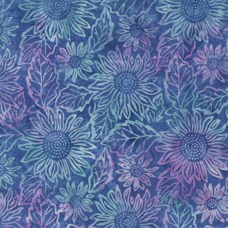 Blue/Pink Sunflower Batik