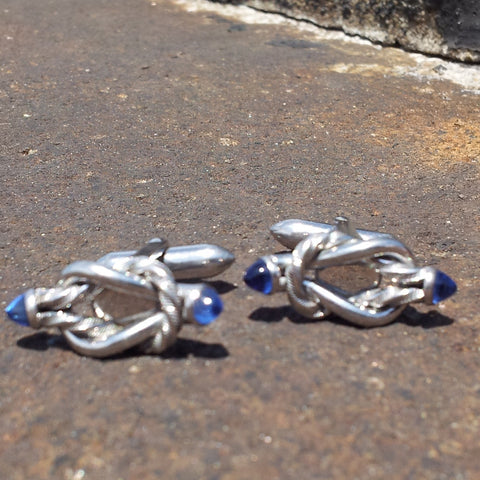 Fine Sterling Silver and Sapphire Cufflinks - Vintage