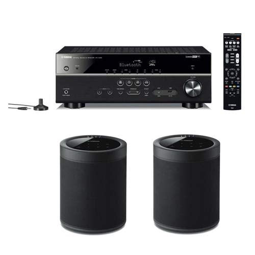 Yamaha RX-V485 5.1-Channel Network AV Receiver with MusicCast, Wi-Fi and Bluetooth - with 2 Pack WX-021 MusicCast 20 Wireless Speaker, Black