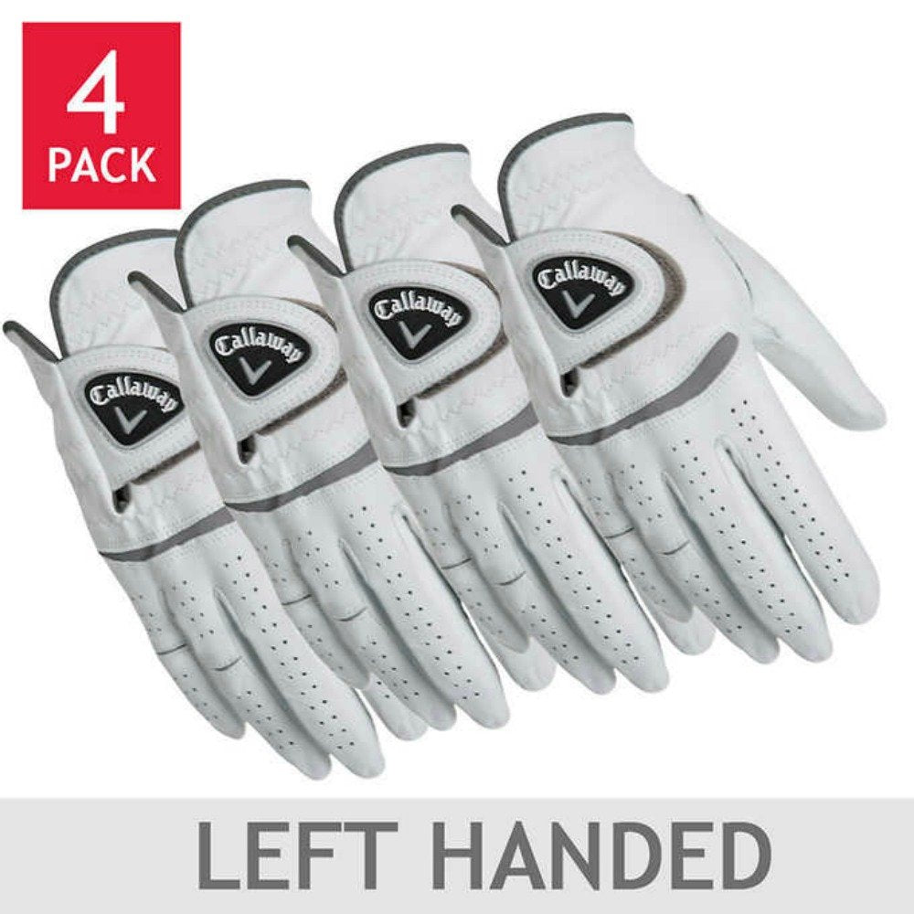 Callaway Men's Leather Golf Glove 4-Pack: Right and/or Left Handed (X-Large, Left)