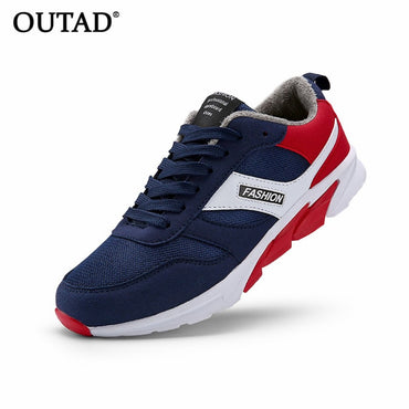 OUTAD Winter Comfortable Men Sport Running Shoes Cotton Men Male Anti-Slip Rubber Sole Walking Sneakers Shoes plus size