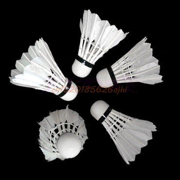 Badminton Training Sports White Goose Feather Birdies Ball Game Shuttlecocks x12 #H030#