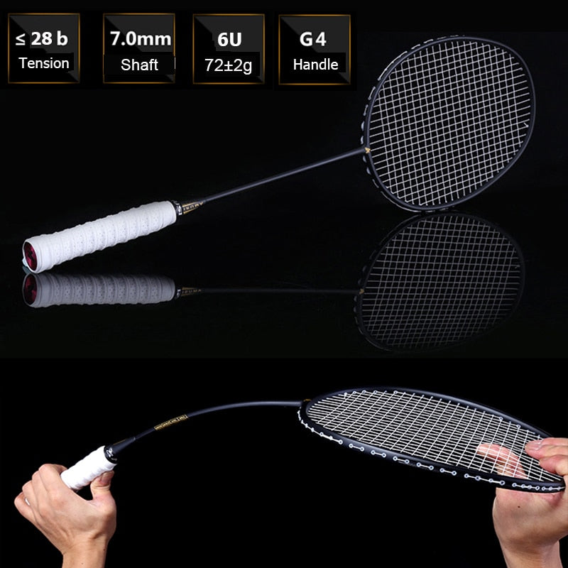 Ultralight 6U 72g Strung Badminton Racket Professional Carbon Badminton Racquet 22-28 LBS free Grips and Wristband