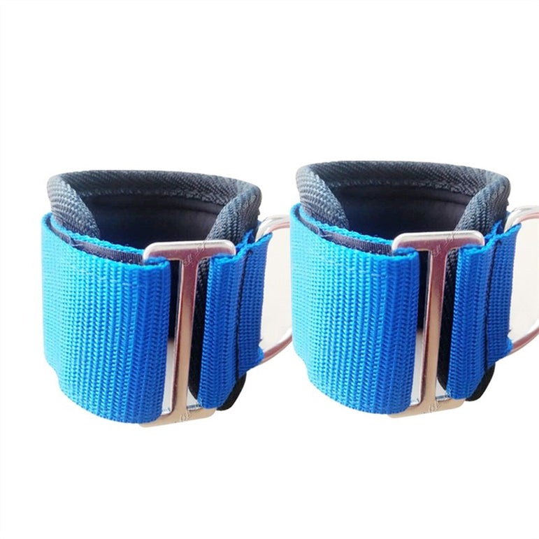 2pcs Sport Ankle Strap Gym Fitness Ankle Cuffs for Weightlifting Leg Gym Workout (Blue)