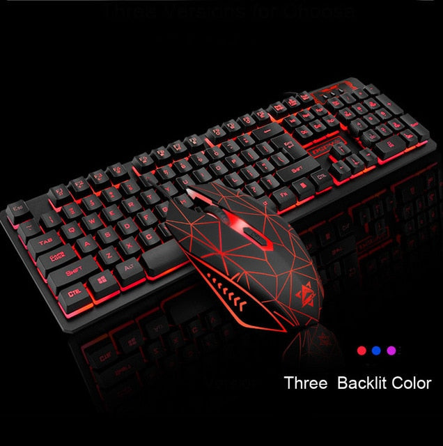 104 Keys Gaming Keyboard Mouse Rainbow LED Backlit Mechanical Feeling Keyboard Pro Gaming Keyboard and Mouse Combo