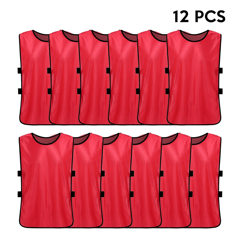 12PCS Adults Quick Drying Football Jerseys Vest Breathable Basketball Practice Sports Vest Soccer Pinnies Team Training Bibs