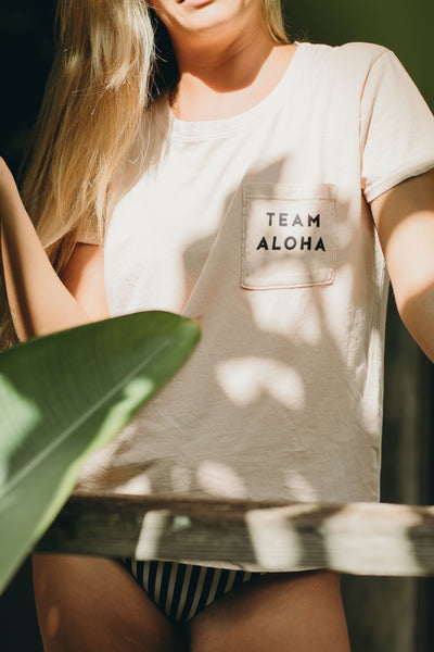 Team Aloha Pocket Tee in Almond