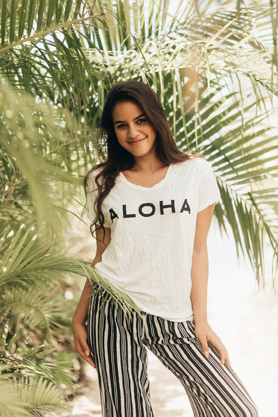 GUAVA, Aloha Tee in Black on White