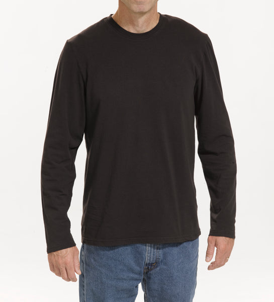 Black cotton lycra blend long-sleeve knit shirt, model is 6-4 and wearing size Tall-Large.