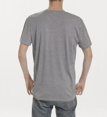 Grey polyester wick-a-way ribbing T-shirt rear view, model is 6-8 and wearing size XTall-Large.