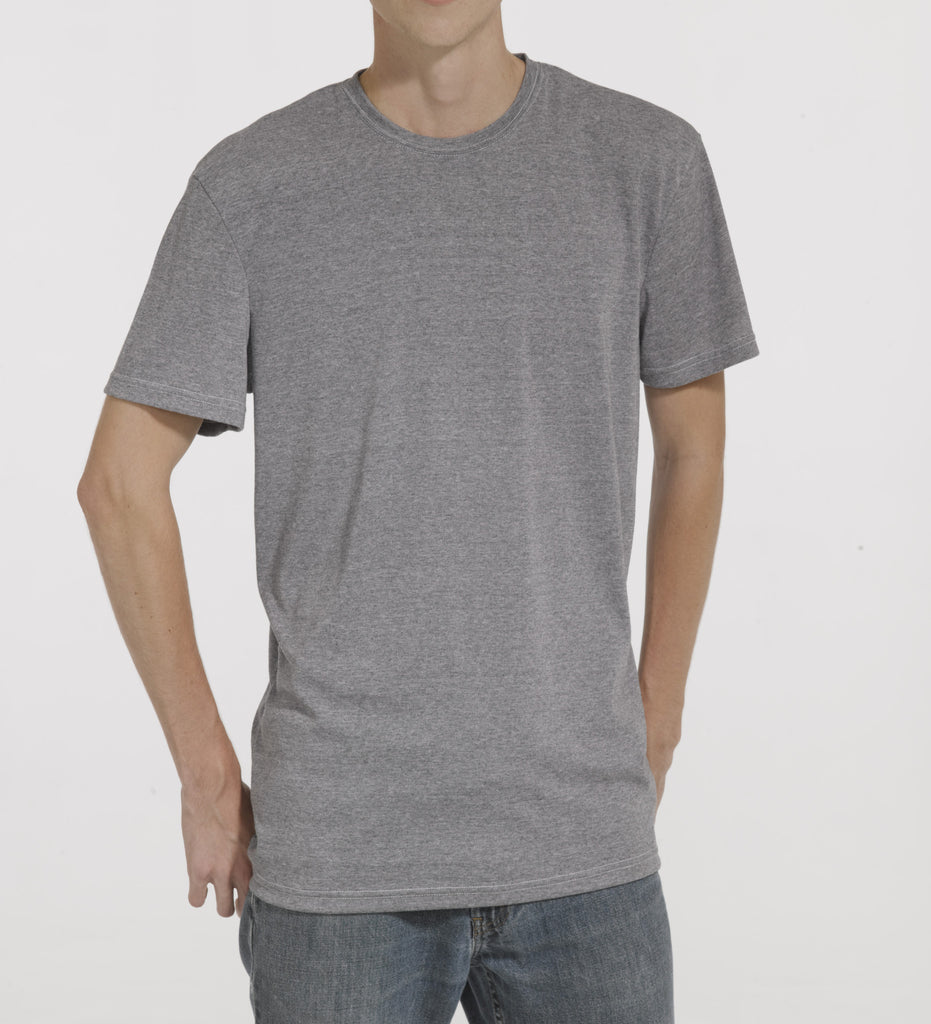 Grey Polyester Wick A Way Ribbing T Shirt Model Is 6